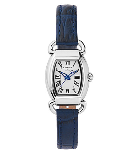 LINKS OF LONDON 6010.2158 Driver Mini Tonneau stainless steel and leather watch (Blue