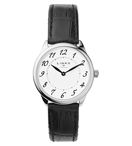 LINKS OF LONDON Narrative stainless steel and leather watch (Black
