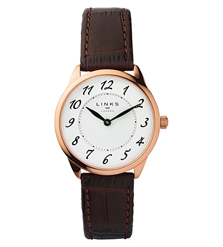 LINKS OF LONDON 6010.2166 Narrative rose gold-plated stainless steel and leather watch (Brown