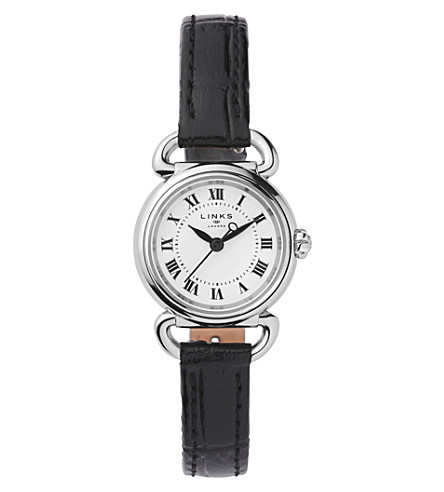 LINKS OF LONDON 6010.2169 驱动程序迷你不锈钢皮表带腕表 (黑色
