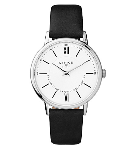 LINKS OF LONDON Noble stainless steel and leather watch