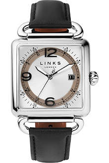 LINKS OF LONDON Driver stainless steel and leather watch