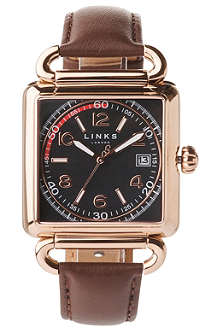 LINKS OF LONDON Driver rose gold-plated and leather watch