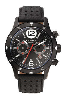 LINKS OF LONDON Chicane PVD and leather chronograph watch