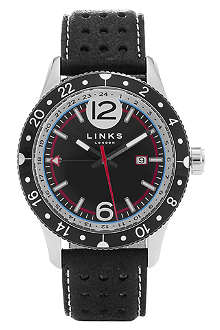LINKS OF LONDON Chicane stainless steel and leather watch