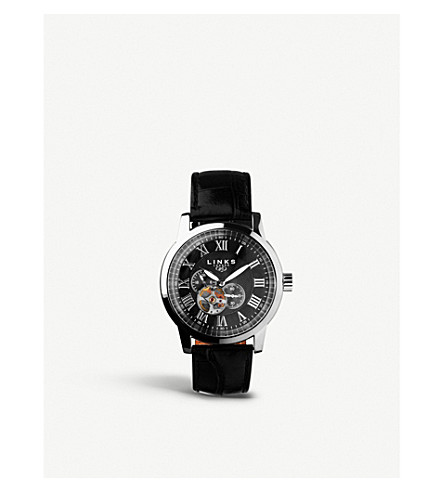 LINKS OF LONDON 6020.1055 Noble Roman stainless steel and leather watch
