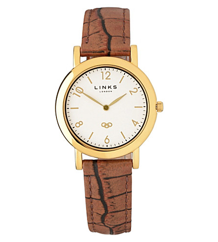 LINKS OF LONDON Noble slim leather strap watch (Brown