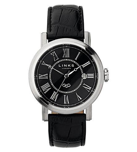 LINKS OF LONDON Richmond stainless steel black dial watch