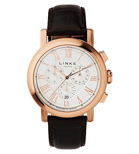 LINKS OF LONDON Richmond rose gold-plated chronograph watch (White