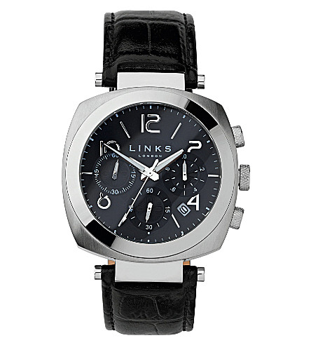 LINKS OF LONDON Brompton leather strap chronograph watch (Black