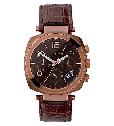 LINKS OF LONDON Brompton leather strap chronograph watch (Brown
