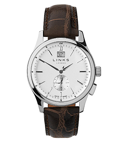 LINKS OF LONDON Regent stainless steel and leather watch (Brown