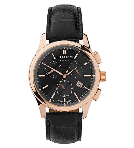 LINKS OF LONDON Regent rose gold-plated and leather watch (Rose+gold