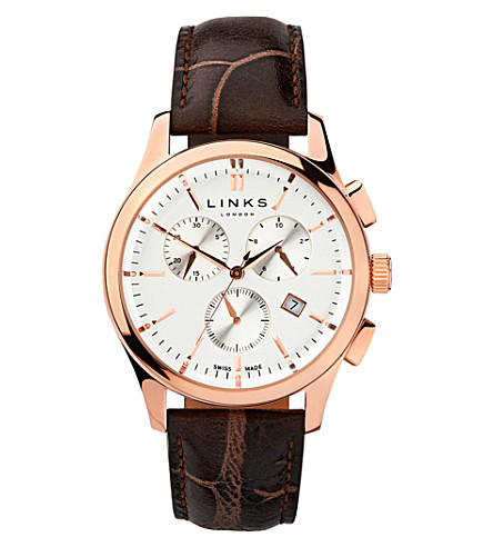 LINKS OF LONDON 6020.1159 Regent Chronograph rose gold plated stainless steel and leather watch (Rose+gold