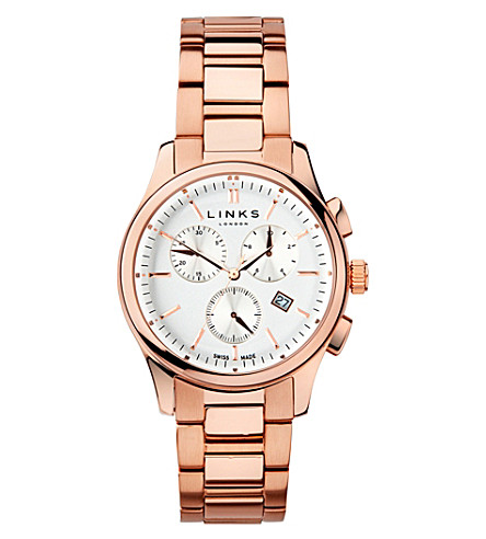 LINKS OF LONDON 6020.1160 Regent Chronograph rose gold plated stainless steel watch (Rose+gold