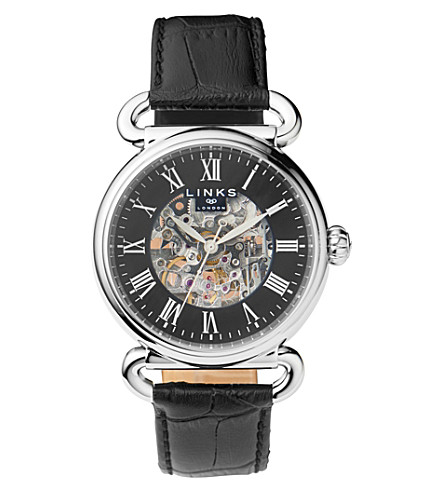 LINKS OF LONDON Driver stainlesss teel and leather skeleton watch (Black