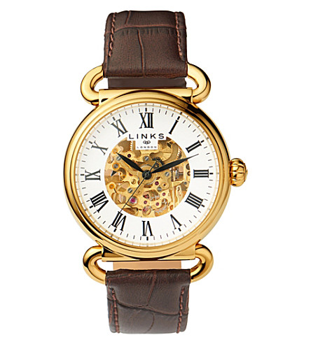 LINKS OF LONDON Driver stainlesss teel and leather skeleton watch (Brown