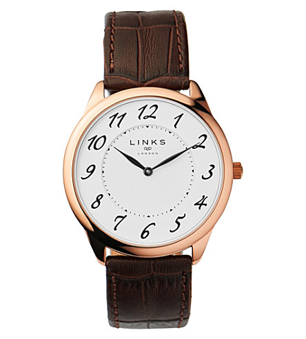 LINKS OF LONDON Narrative rose gold-plated stainless steel and leather watch (Brown