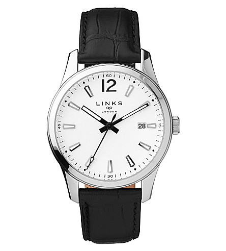 LINKS OF LONDON Greenwich Noon leather watch (Black