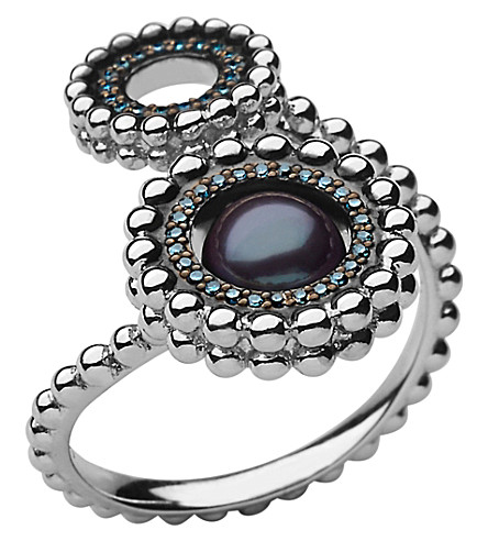 LINKS OF LONDON Effervescence sterling silver, blue diamond and pearl double ring