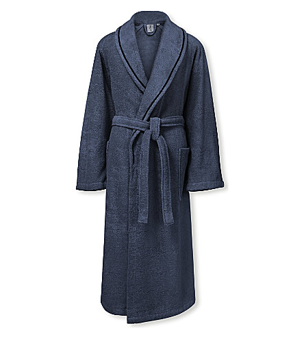 CALVIN KLEIN Dolmite cotton bath robe (Midnight