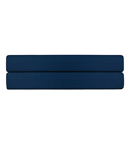 CALVIN KLEIN Satin cotton single fitted sheet (Navy