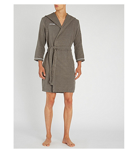 CALVIN KLEIN Anatalya cotton dressing gown (Charcoal