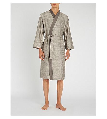 CALVIN KLEIN Acacia striped cotton dressing gown (Grey