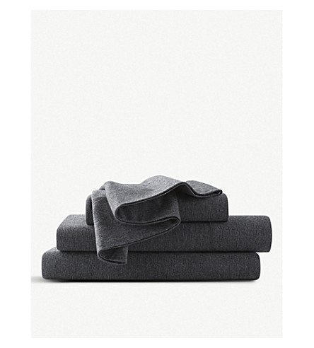 CALVIN KLEIN Modern cotton-blend double fitted sheet (Charcoal