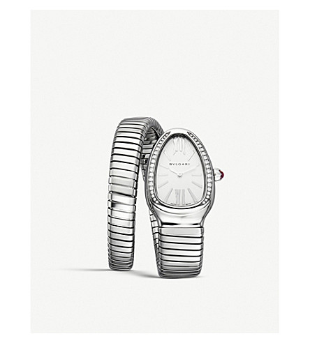 BVLGARI Serpenti Tubogas stainless steel and diamond watch