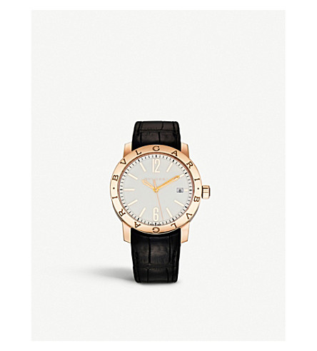 BVLGARI BVLGARI-BVLGARI Solotempo 18ct pink-gold and alligator-leather watch