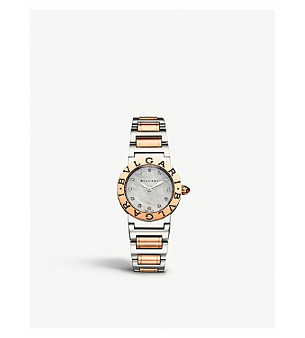 BVLGARI BVLGARI-BVLGARI 18ct pink-gold, stainless steel and diamond watch