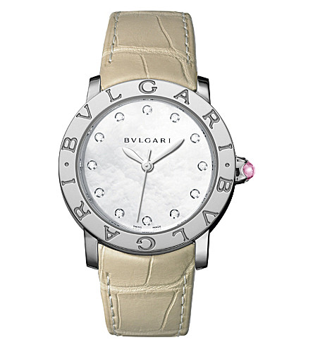 BVLGARI BVLGARI-BVLGARI stainless steel, diamond and alligator-leather watch