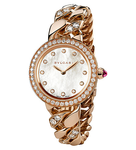 BVLGARI BVLGARI-BVLGARI 18ct pink-gold and diamond watch