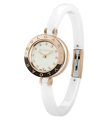 BVLGARI B.zero1 18ct pink-gold, stainless steel, diamond and ceramic watch