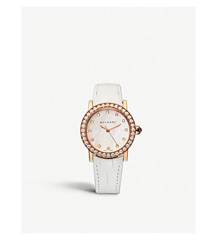 BVLGARI BVLGARI-BVLGARI 18ct pink-gold, diamond and alligator-leather watch