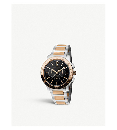 BVLGARI BVLGARI-BVLGARI Velocissimo 18ct pink-gold and stainless steel watch