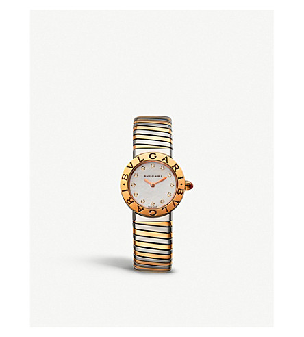 BVLGARI BVLGARI-BVLGARI Tubogas 18ct pink-gold, stainless steel and diamond watch