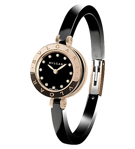BVLGARI B.zero1 18ct pink-gold, stainless steel and diamond watch