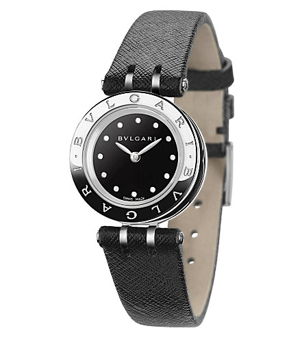 BVLGARI B.zero1 stainless steel and leather watch
