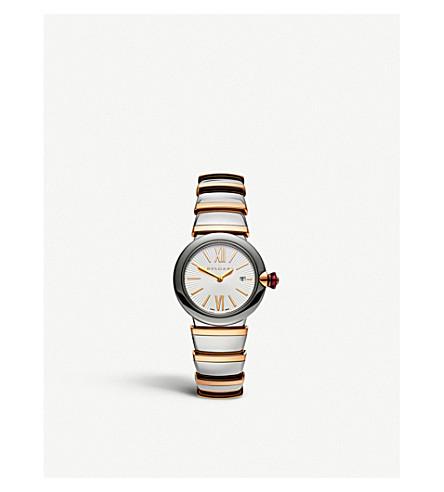 BVLGARI Lvcea 18ct 粉红色金色, 不锈钢和钻石手表