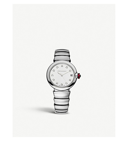 BVLGARI Lvcea stainless steel and diamond watch