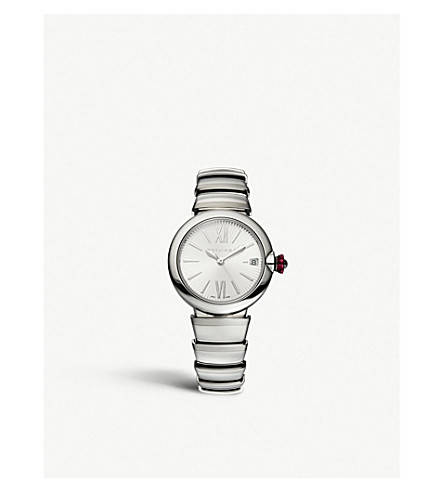 BVLGARI Lvcea stainless steel and pink cabochon-cut stone watch