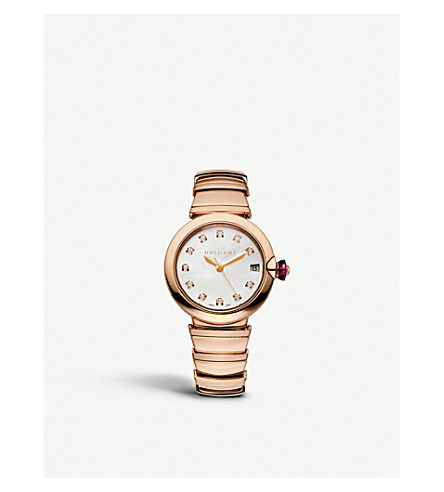 BVLGARI Lvcea 18ct pink-gold and diamond watch
