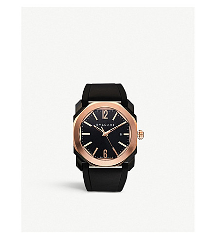 BVLGARI Octo 18kt pink-gold and leather watch