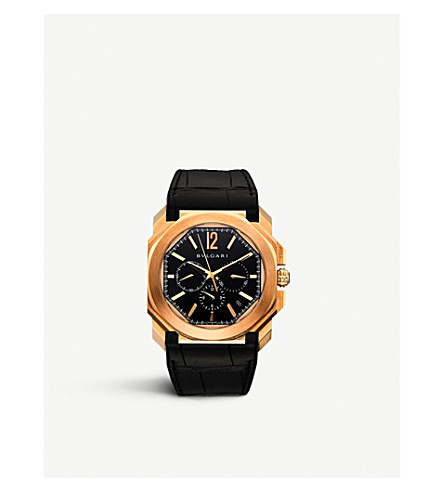 BVLGARI Octo 18ct pink-gold and leather watch