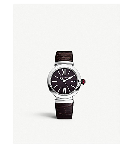 BVLGARI Lvcea stainless steel, diamond and leather watch
