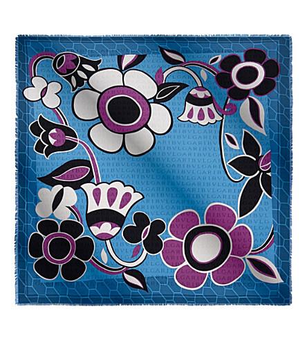 BVLGARI Floralia Scaglie silk scarf (Topaz