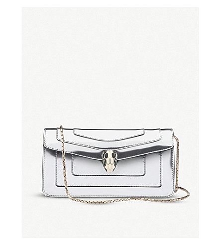 BVLGARI Serpenti Forever metallic leather shoulder bag (Silver