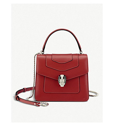 BVLGARI Serpenti Forever leather shoulder bag (Ruby+red